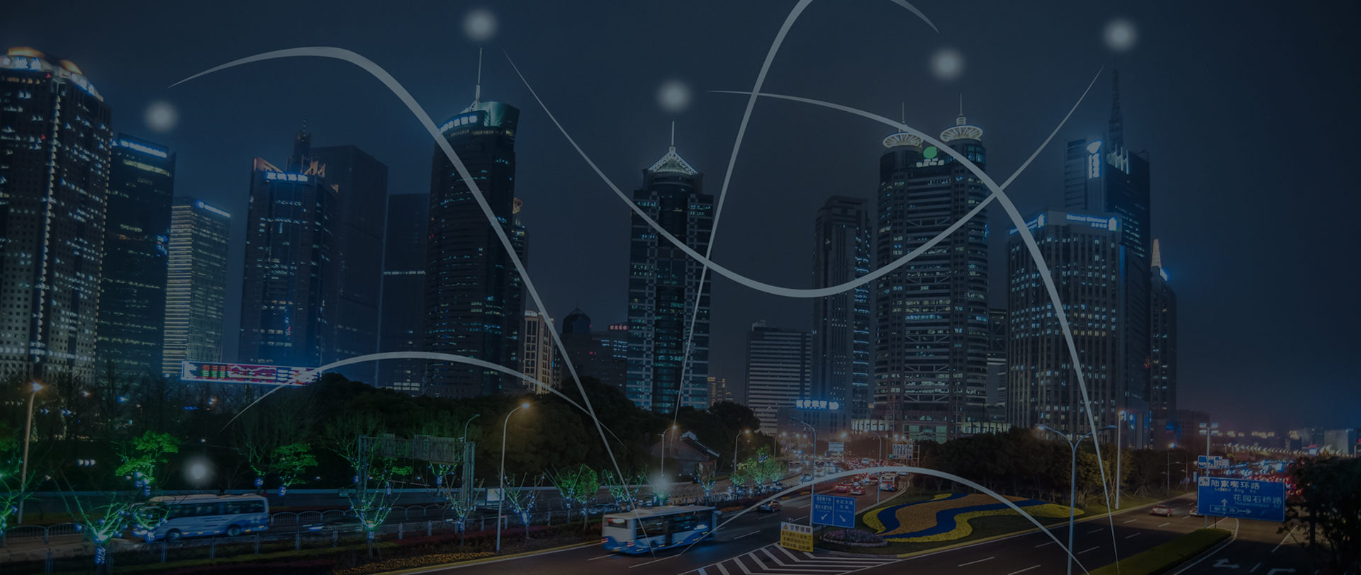 iot technology illustrated by a city connected