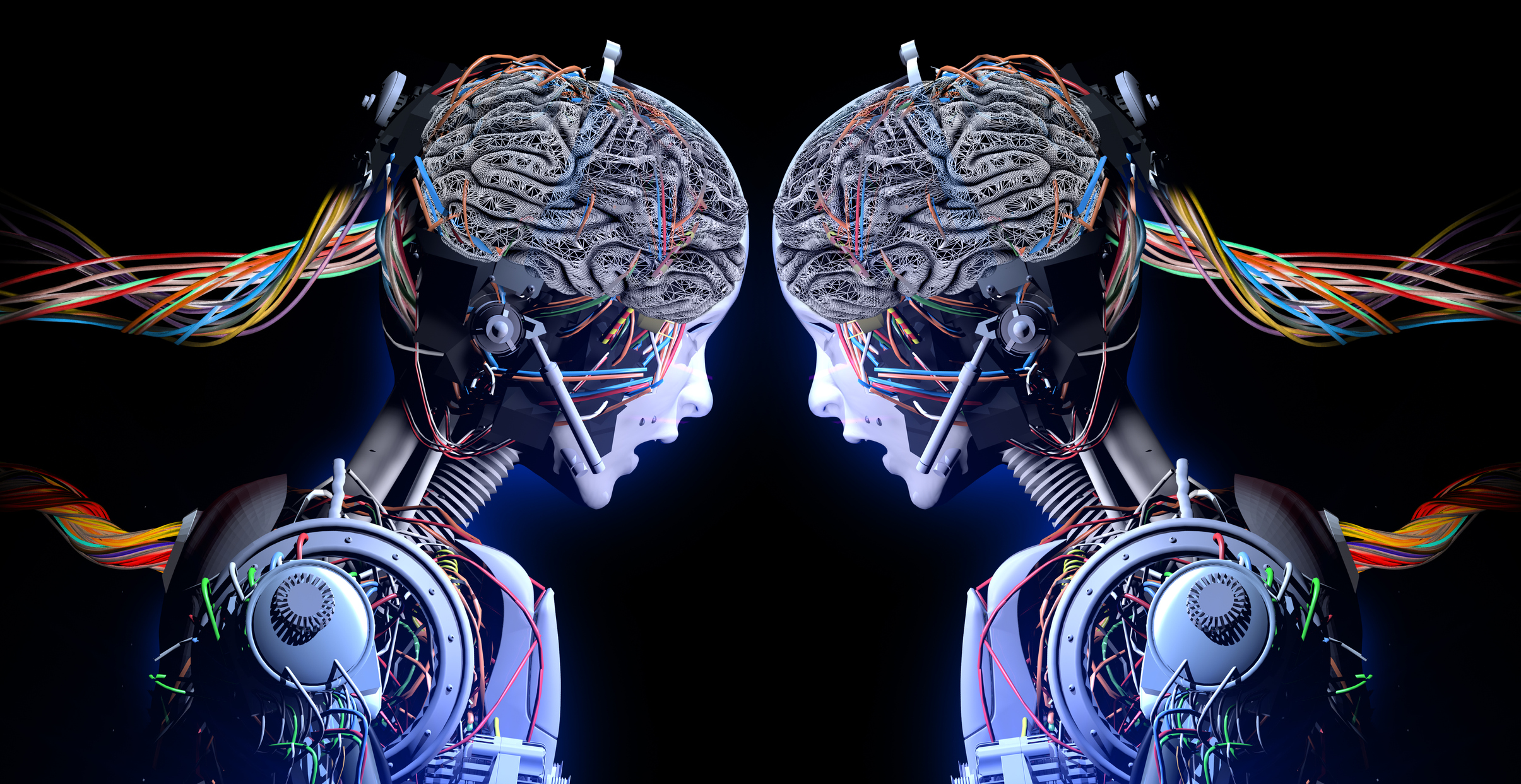 Robots with brains looking at each other